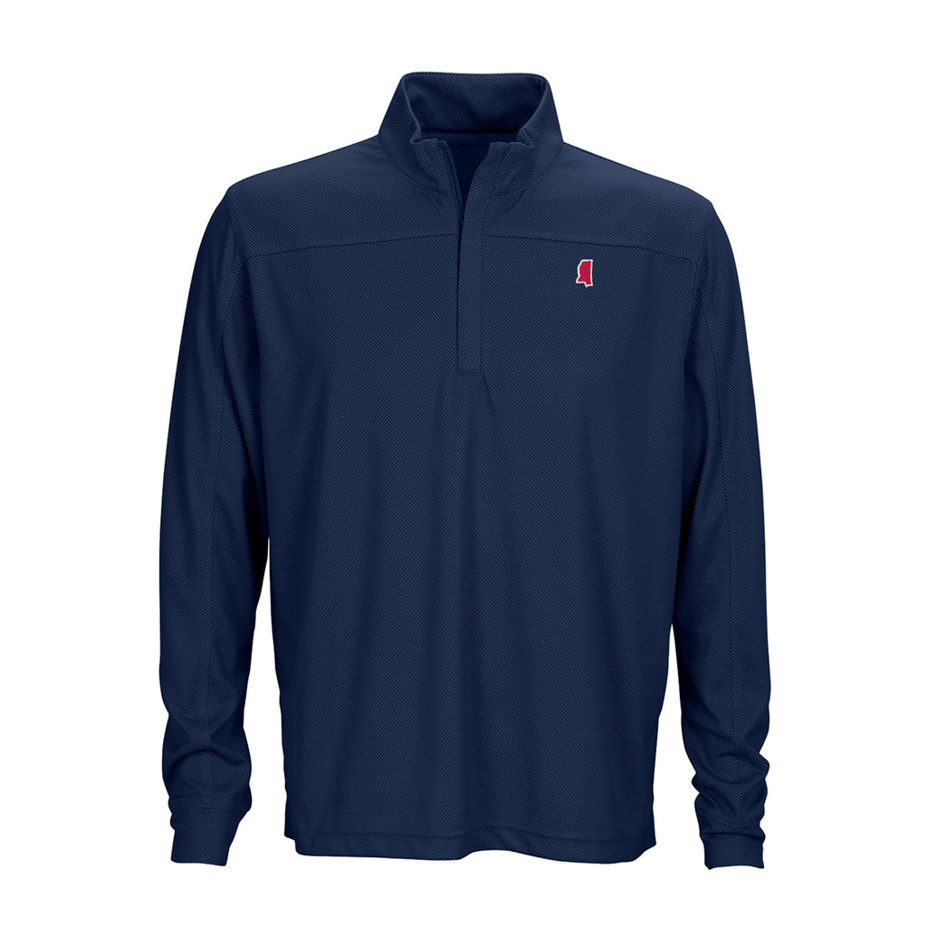Mississippi Oxford Gameday Herringbone 1/4 Zip Pullover Navy