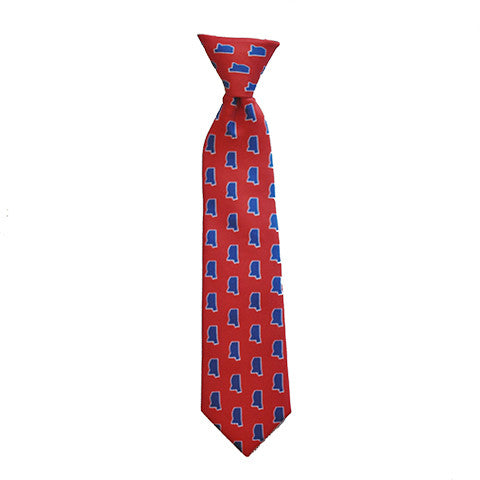 Mississippi Oxford Gameday Youth Tie Red