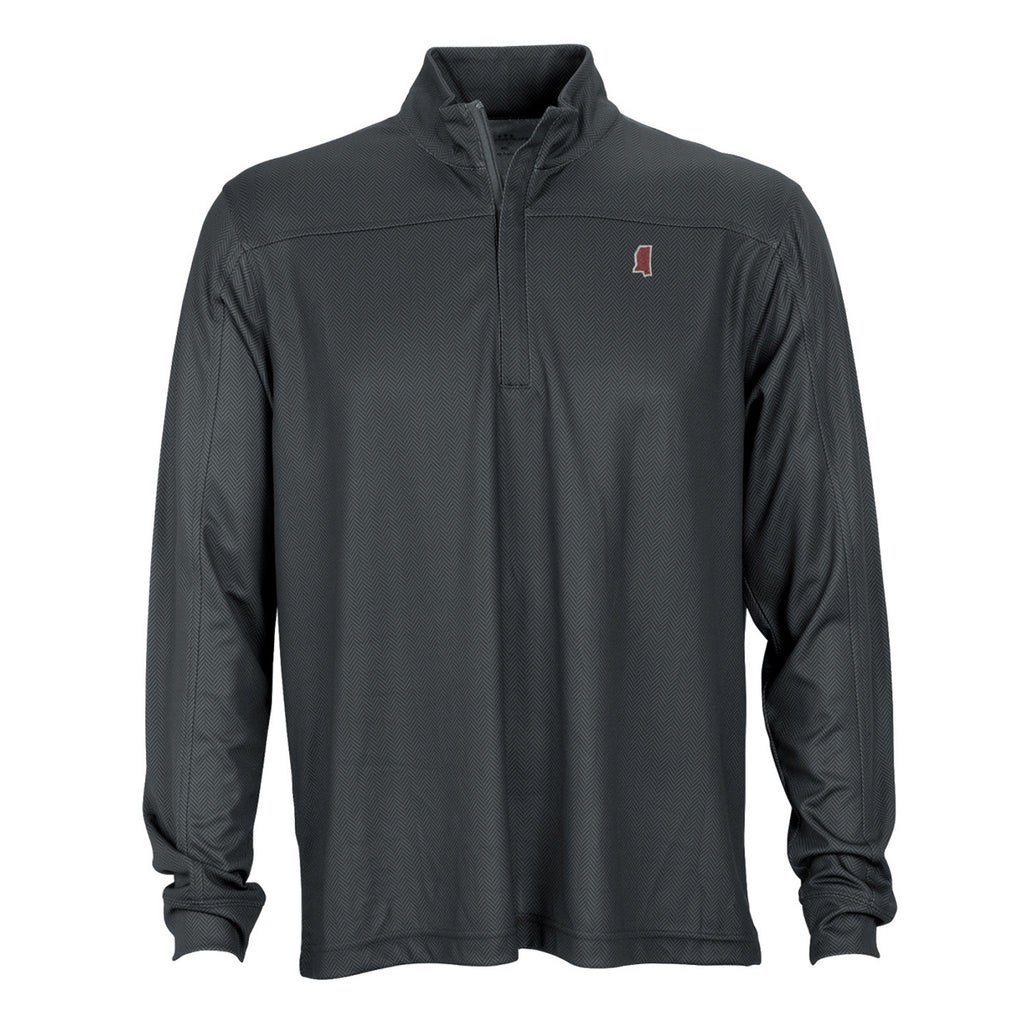Mississippi Starkville Gameday Herringbone 1/4 Zip Pullover Charcoal