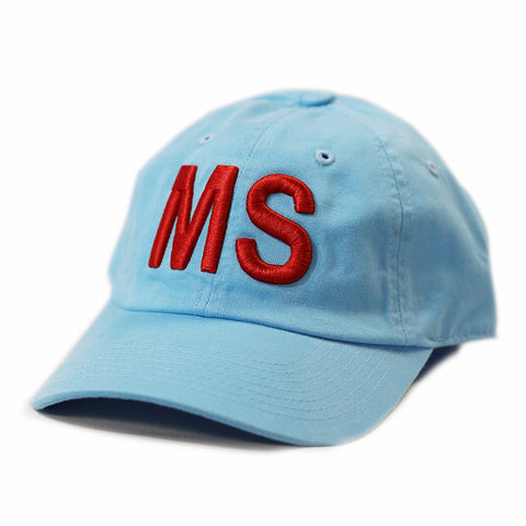 "Mississippi ""MS"" State Letter Acronym Hat Light Blue"