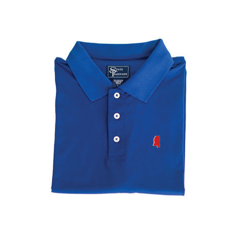 Mississippi Oxford Clubhouse Performance Polo Blue