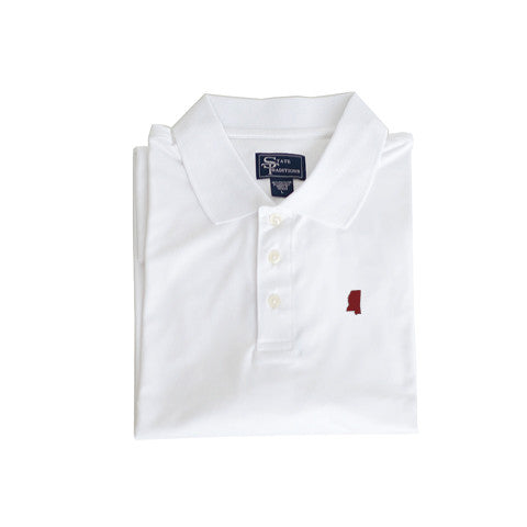 Mississippi Starkville Clubhouse Performance Polo White