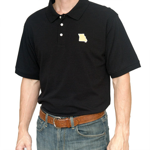 The Show Me State, Shoe Me, Black Polo, 3 Button, Missou, Missouri, Tiger Fans, Columbia Gameday, Columbia Missouri Polo,
