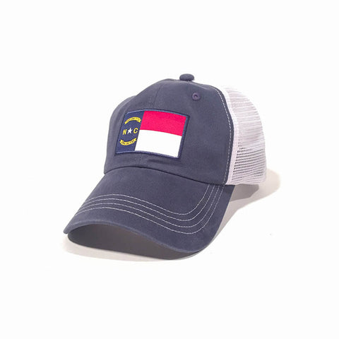 North Carolina Flag Blue Trucker Hat Side View