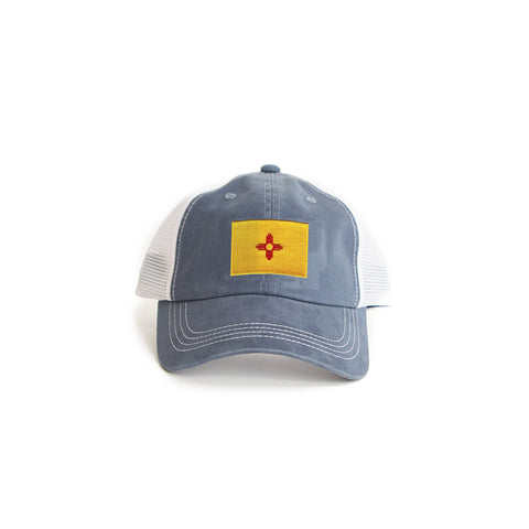 New Mexico Flag Trucker Hat Blue