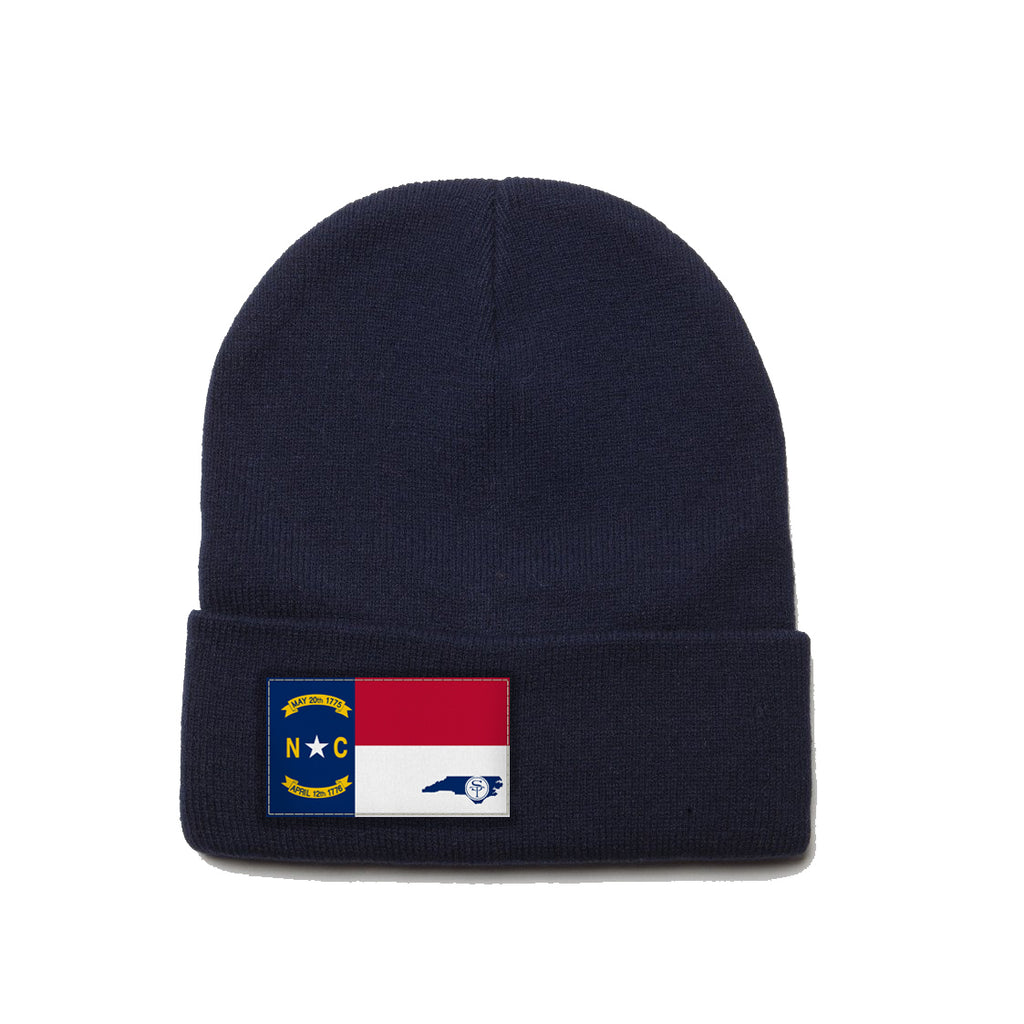 Navy Beanie with North Carolina Flag Patch by State Traditions