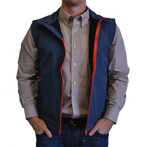 Soft Shell Vest Navy with Orange Trim