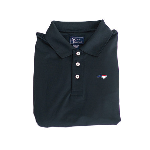 North Carolina Traditional Clubhouse Performance Polo Black