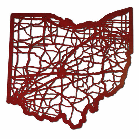 Ohio Laser Cut Wooden Wall Map