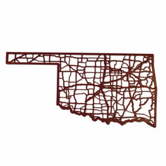 Oklahoma Laser Cut Wooden Wall Map Crimson