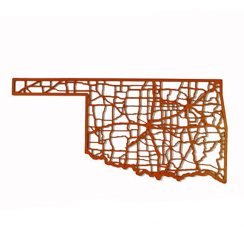 Oklahoma Laser Cut Wooden Wall Map Orange