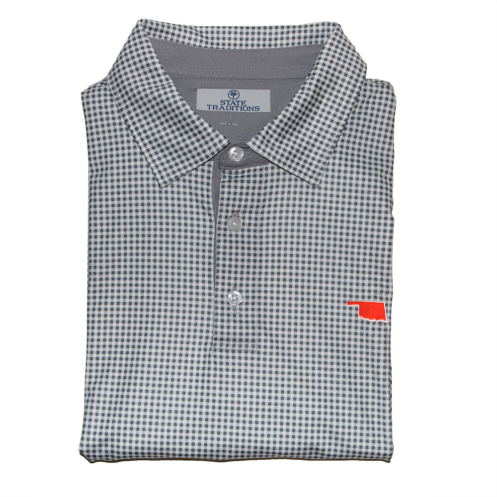 Oklhoma Stillwater Gingham Performance Polo Grey