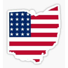 Ohio Flag Sticker State Shape of Ohio State Flag Buckeye State Patriot Flag USA Flag inside Ohio Sticker Decal