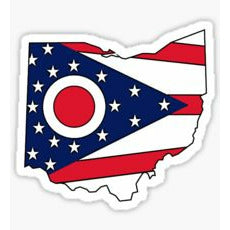 Ohio Flag Sticker State Shape of Ohio State Flag Buckeye State