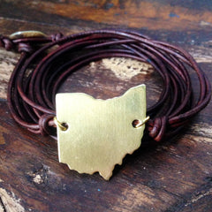 Ohio Love Strappy Leather Wrap Bracelet