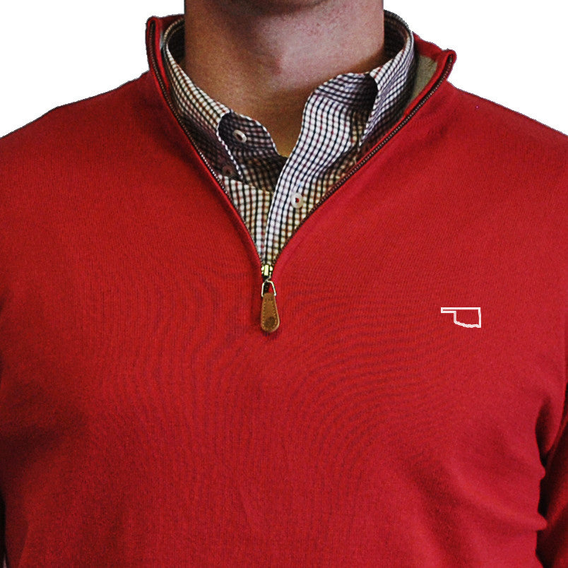 Oklahoma Norman 1/4-Zip Pullover Red