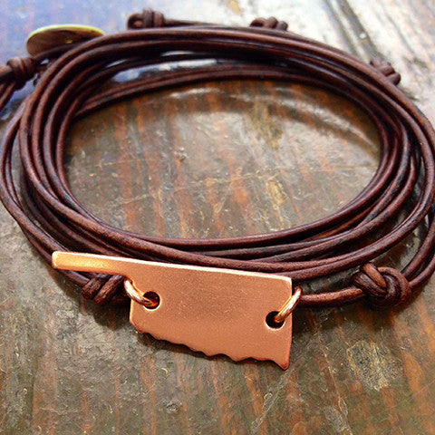 Oklahoma Love Strappy Leather Wrap Bracelet