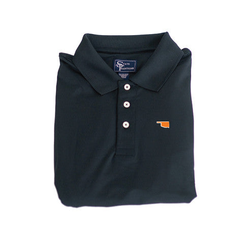 Oklahoma Stillwater Clubhouse Performance Polo Black
