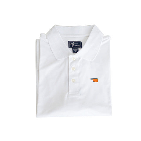 Oklahoma Stillwater Clubhouse Performance Polo White