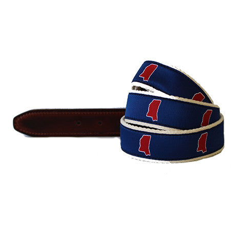 Oxford Mississippi Belt, MS Belt, OXFD BELT, MS Gameday Belt, Navy Ribbon Belt, Hotty Toddy, Ole Miss, Gameday, Country Club Prep, Mississippi Pride