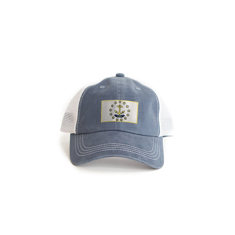 Rhode Island Flag Trucker Hat Blue
