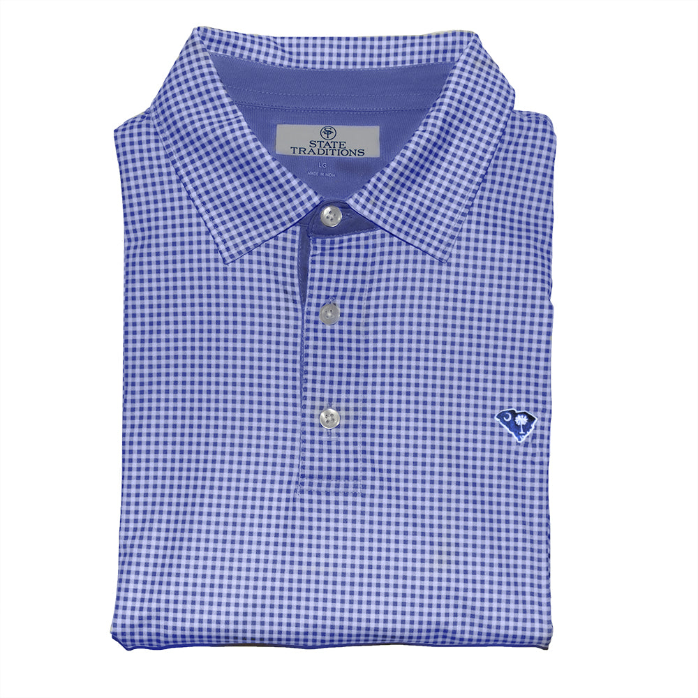 South Carolina Gingham Performance Polo Navy