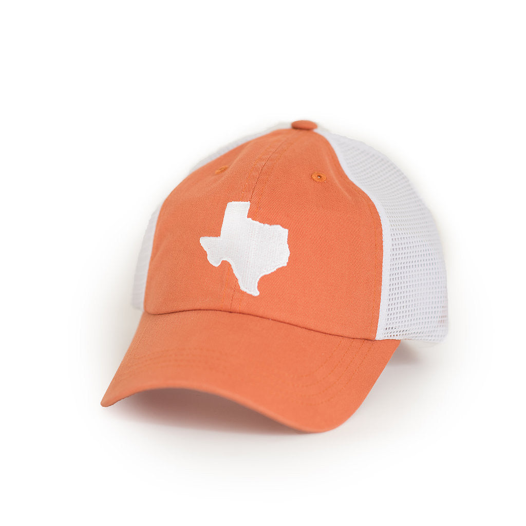 Orange and white trucker, Brushed Cotton Trucker hat, Quality Trucker, TX Hat, Texas Hats, Texas, Burnt Orange Trucker hat with White state of TX, Texas embroidery, Austin Texas, Trucker Cap, Texas Trucker Hat, Texas Cap