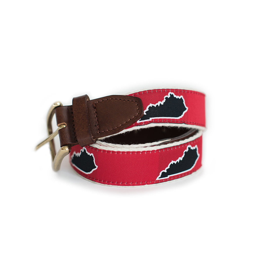 Red Kentucky Louisville Gameday Ribbon Belt with Leather Tab