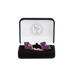 Louisiana Baton Rouge Gameday Purple Cuff Links and Lapel Pin Set