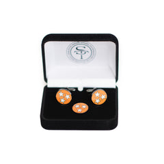 Tennessee Orange TriStar Cuff Link and Lapel Pin Set Front View