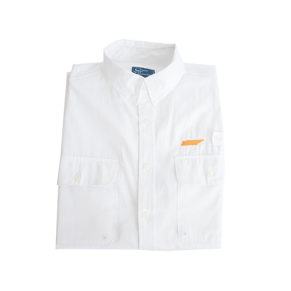Tennessee Knoxville Coastline Vented Woven Shirt White