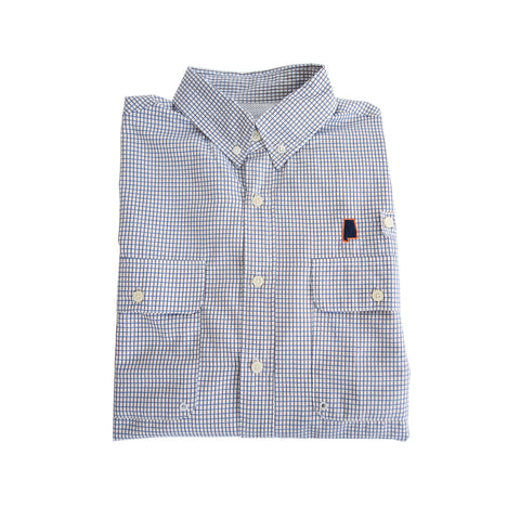 Alabama Auburn Coastline Vented Woven Shirt Blue