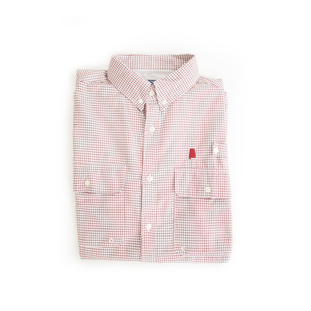 Alabama Tuscaloosa Coastline Vented Woven Shirt Red