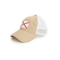 Khaki Alabama Flag Trucker Hat Side View