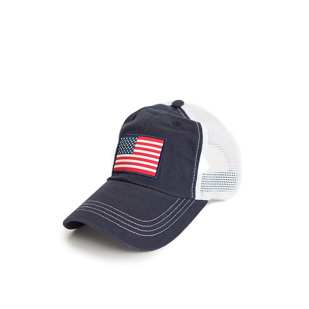 American Flag Trucker Hat Navy