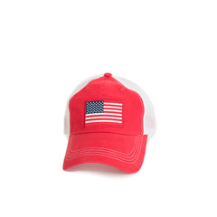 American Flag Trucker Hat Red