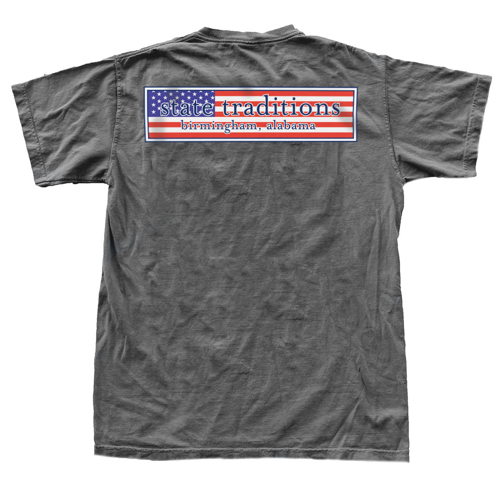 State Traditions Stars and Stripes Logo T-Shirt Grey