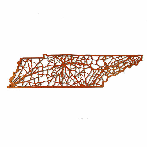 Tennessee Laser Cut Wooden Wall Map Orange