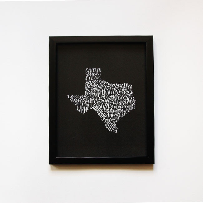 Texas Food Map, Chalkboard Style
