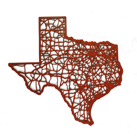 Texas Laser Cut Wooden Wall Map Orange - State Traditions on