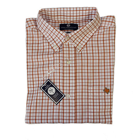 Texas Austin Gameday Tattersall Long Sleeve Shirt Burnt Orange