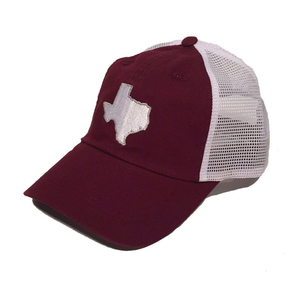 Texas headwear, TX Trucker Cap, TX Hat, Texas Hats, Texas, Maroon hat with White state of TX, Texas embroidery, College Station Texas, College Station Gameday Trucker Cap, Trucker Hat, Texas Cap