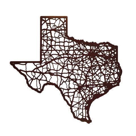 Texas Laser Cut Wooden Wall Map Maroon