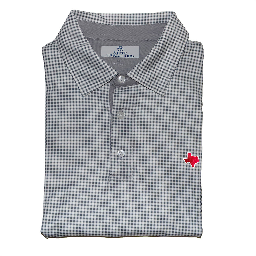 Texas College Station Gingham Performance Polo