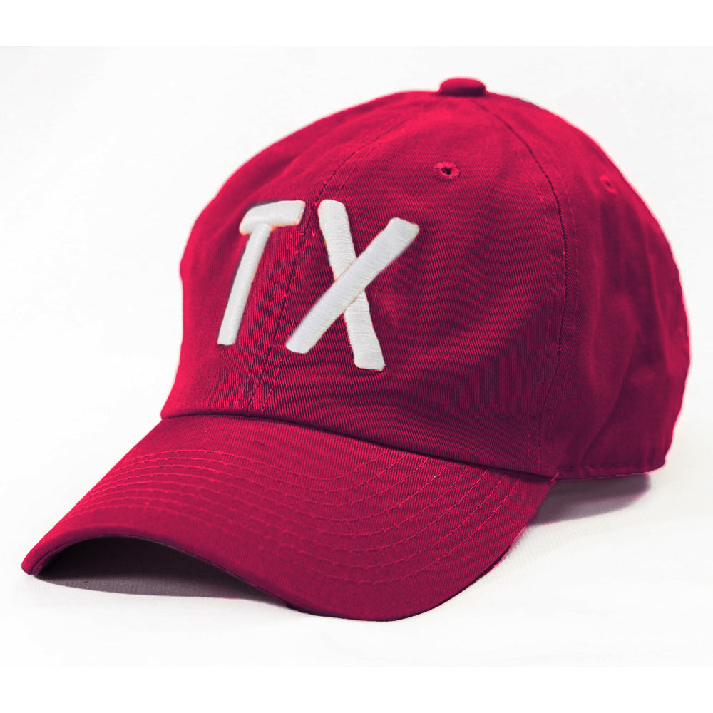 TX Hat, Texas Hats, Texas, Maroon with white TX, Puffy TX embroidery, College Station Texas, Dad Cap, Cotton Slouch Hat, Texas Cap