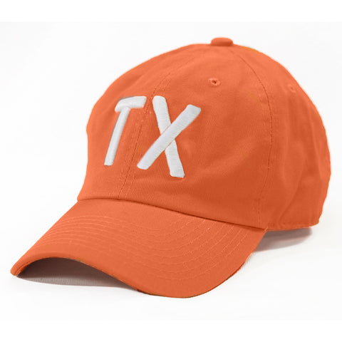 TX Hat, Texas Hats, Texas, Burnt Orange with white TX, Puffy TX embroidery, Austin Texas, Dad Cap, Cotton Slouch Hat, Texas Cap