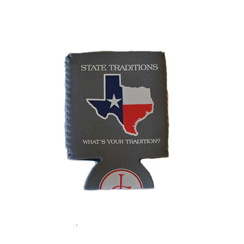 Texas Traditional Koozie Grey