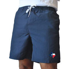 Texas Traditional Navy Swim Trunks Front View