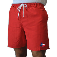 State Traditions Texas Traditional Red Swim Trunks Front View
