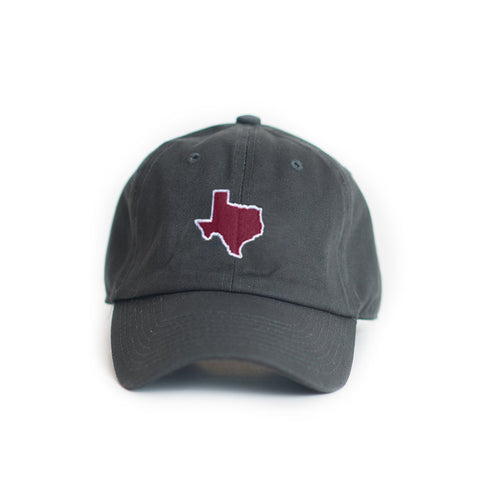 Texas headwear, Ball Cap, TX Hat, Texas Hats, Texas, Grey hat with Maroon state of TX, Texas embroidery, College Station Texas, Dad Cap, Cotton Slouch Hat, Texas Cap